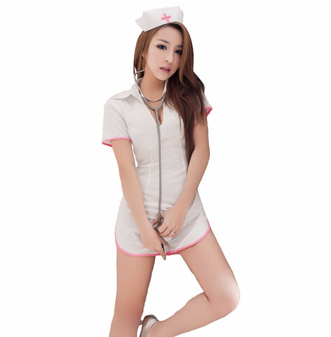 LINGERIECATS Sexy Cloudy soft 5pcs Nurse Cosplay Costume Set - LingerieCats