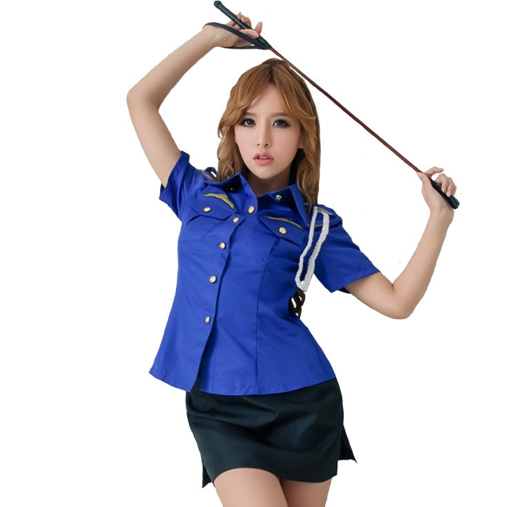 LINGERIECATS Sexy Blue ? Black 2pcs Verisimilitude Police Outfit Cosplay Costume Set - LingerieCats