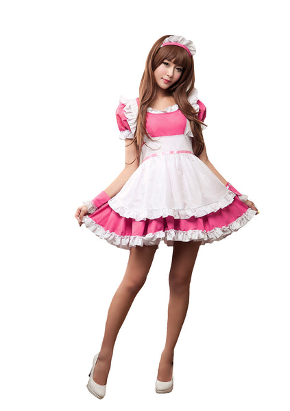 LINGERIECATS Rose Merry Pink 4pcs Cherry Maid Outfit Cosplay Costume Set (Free Sport Pant Gift) - LingerieCats