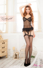 Lingeriecats Sexy Seducing Black Transparent Chiffon Corset Set
