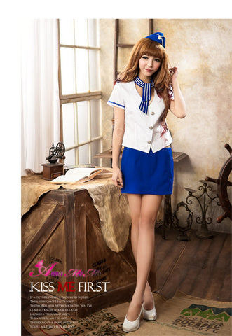 Cute School Uniform Costume White/Blue