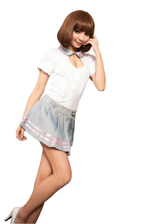 LINGERIECATS Sexy Grey Pinky 2pcs School Girl Uniform Cosplay Costume Set - LingerieCats