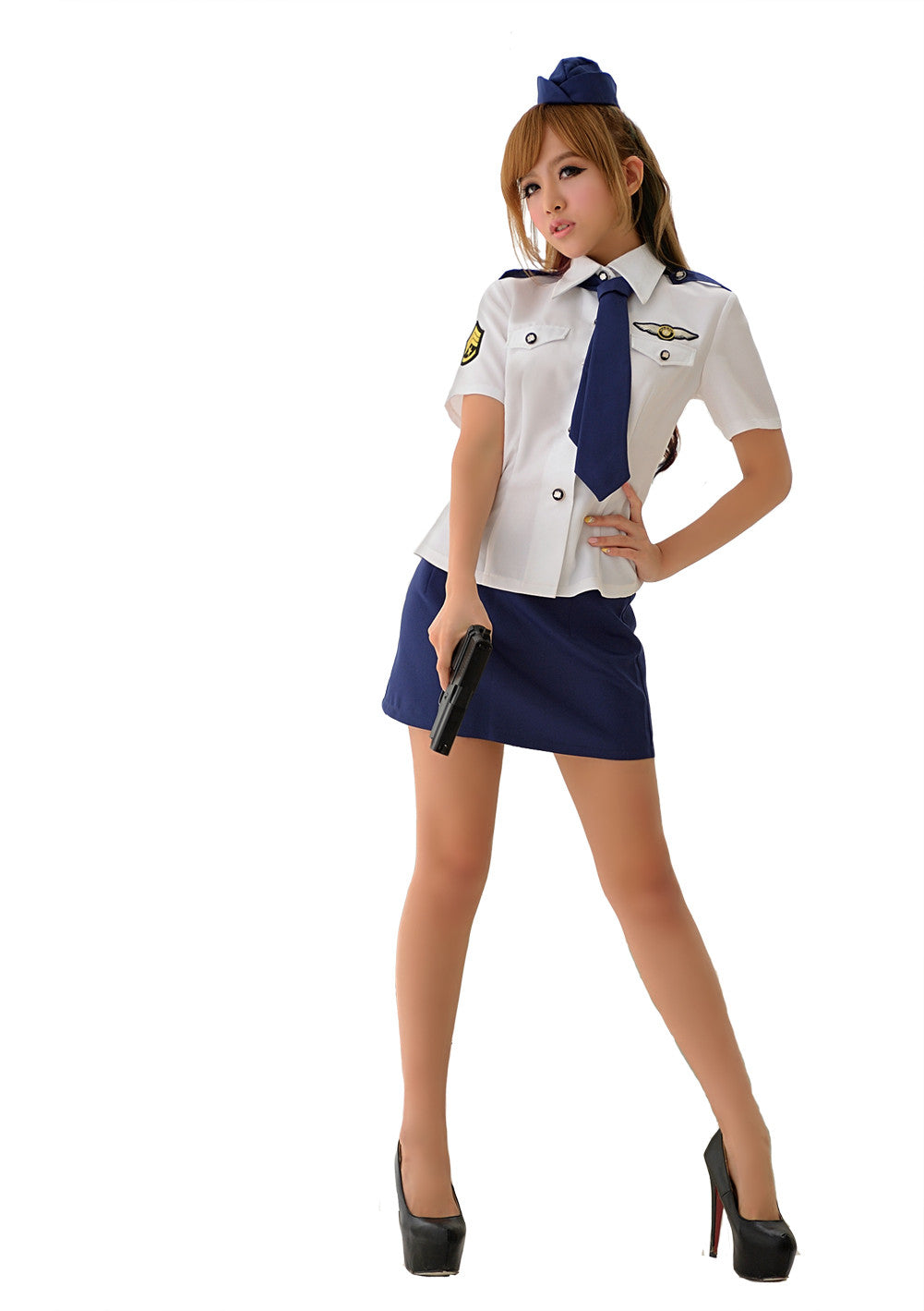 LINGERIECATS Sexy Clear Sky Air Force Officer Cosplay Costume Set - LingerieCats