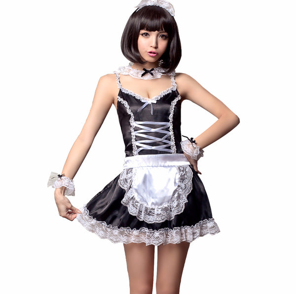 LINGERIECATS Black with White Lace 5pcs sexy Maid Cosplay Costume Set  (Free Sport Pant Gift) - LingerieCats