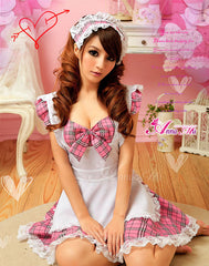 (Discn't)  Lingeriecats Sexy Cherry Pie Sweet Heart Maid Outfit Cosplay Costume Set - LingerieCats