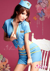 Lingeriecats Sexy Sky-Blue stylish air-hostess outfit cosplay costume set.