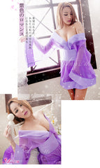 LINGERIECATS Sexy Purple Luster Japanese Doll Cosplay Kimono Costume Set - LingerieCats