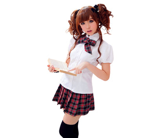 LINGERIECATS White shirt cottish pattern short Skirt 3pcs School Sweet Heart Cosplay Costume Set  (Free Sport Pant Gift) - LingerieCats