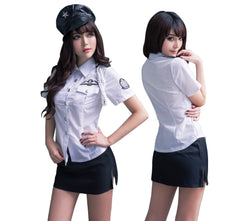 LINGERIECATS White - Black 2pcs Hotties Police Outfit Cosplay Costume Set (Free Sport Pant Gift)