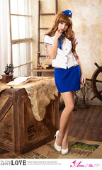 Lingeriecats Sexy Saphire Skye Air-hostess Outfit Cosplay Costume Set - LingerieCats