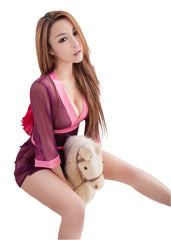 LINGERIECATS Purple and Pink  Mesh Semi-transparent 3pcs Japanese kimono Costume - LingerieCats