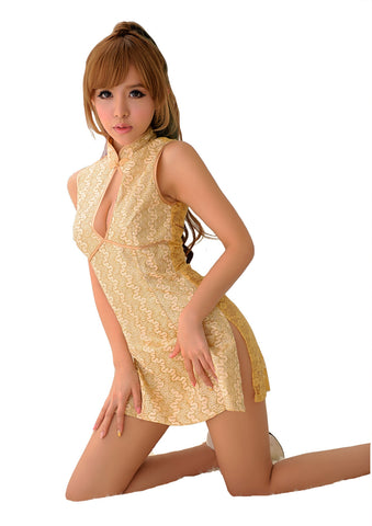 LINGERIECATS Sexy Luxurious Golden Embroidered Chinese Doll Cosplay Cheongsam Costume - LingerieCats