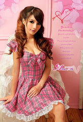 (Discn't)  Lingeriecats Sexy Cherry Pie Sweet Heart Maid Outfit Cosplay Costume Set