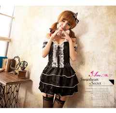 Lingeriecast Sexy Black Maid Costume 9 Pcs