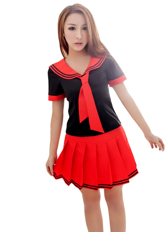 LINGERIECATS Black ? Red School Girl Uniform Cosplay Costume Set  (Free Sport Pant Gift) - LingerieCats