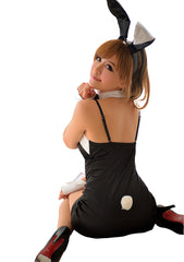 LINGERIECATS Sexy Classic 4pcs Bunny Girl Outfit Cosplay Costume(Black)