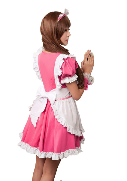 LINGERIECATS Rose Merry Pink 4pcs Cherry Maid Outfit Cosplay Costume Set (Free Sport Pant Gift)