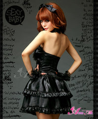Lingeriecats Sexy Midnight Diva Classic Black Artificial Leather Party Dress