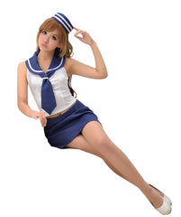 LINGERIECATS Navy Blue white Lace-up Sexy Back 4pcs Sailor Costume … - LingerieCats