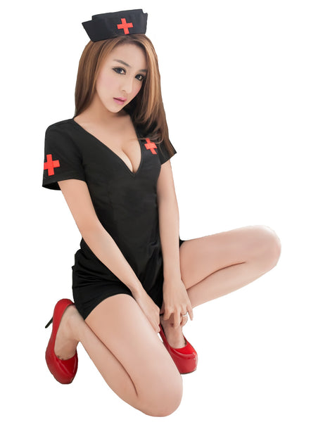LINGERIECATS Sexy Expose Back-side Black 3pcs Nurse Cosplay Costume Set - LingerieCats