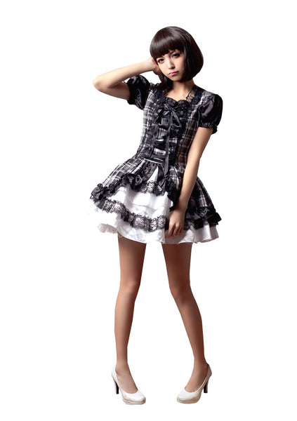 LINGERIECATS Black and White Plaid One Piece tutu Dress  (Free Sport Pant Gift) - LingerieCats