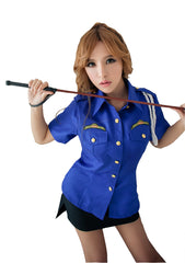 LINGERIECATS Sexy Blue ? Black 2pcs Verisimilitude Police Outfit Cosplay Costume Set