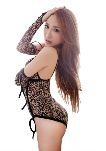 LINGERIECATS Sexy Leopard Teddy Set (with long Glove) - LingerieCats