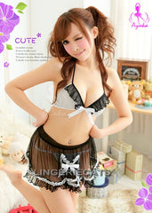 3 Pcs Cutie Polka Dots Maid Bikini Top Set - LingerieCats