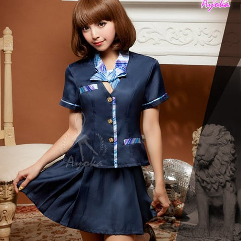Lingeriecats Sexy Saphire Skye Air-hostess Outfit Cosplay Costume Set