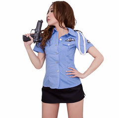 LINGERIECATS Sexy Tempting policeman outfit 2pcs cosplay costume set.