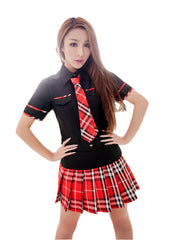 LINGERIECATS Black Red Scottish pattern School Girl Uniform Cosplay Costume - LingerieCats