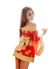 LINGERIECATS Sexy Golden Rose 3pcs Japanese Kimono Cosplay Costume Set - LingerieCats