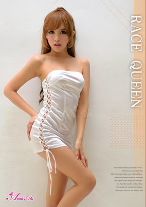 Lingeriecats Sexy Shinny White Sexy Side Lace-up one piece Party Dress - LingerieCats