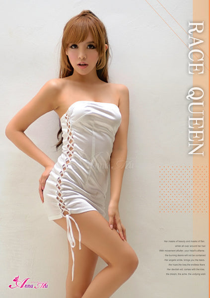 Lingeriecats Sexy Shinny White Sexy Side Lace-up one piece Party Dress
