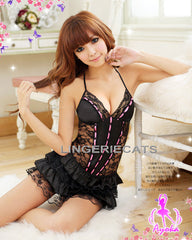 Fascinating Halter-neck Chemise (Black) - LingerieCats