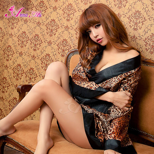 Lingeriecats Sexy Glamorous Leopard Japanese Kimono Outfit Cosplay Costume Set - LingerieCats