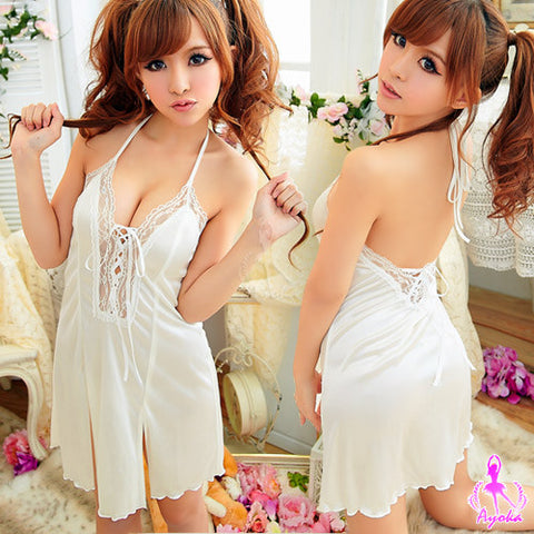 Lingeriecats Fascinating Lace Halter-neck Rayon Chemise