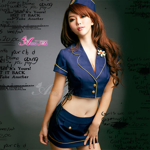 Lingeriecats Sexy Navy Blue Sky Lover flight attendant costume