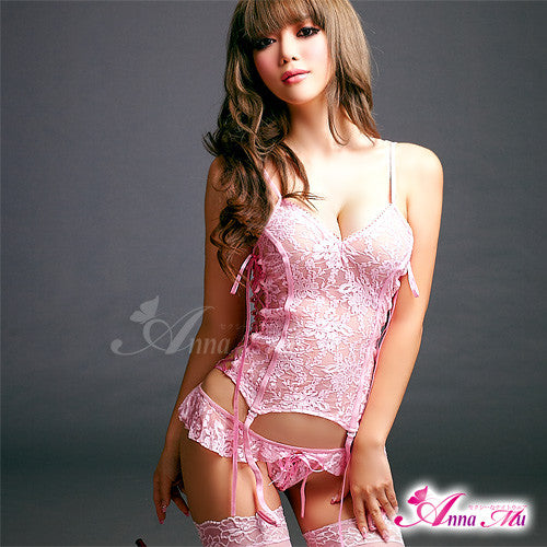 Lingeriecats Sexy Pink Lady eye-catching Lace Corset Set - LingerieCats