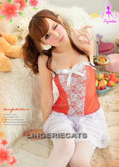 Red Hot 5 Pcs Babydoll Set with Stocking