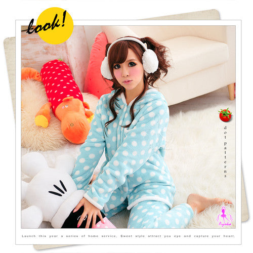 Baby blue Hooded Pajama - LingerieCats
