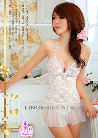 Fascinating Lace Halter-neck Rayon Chemise