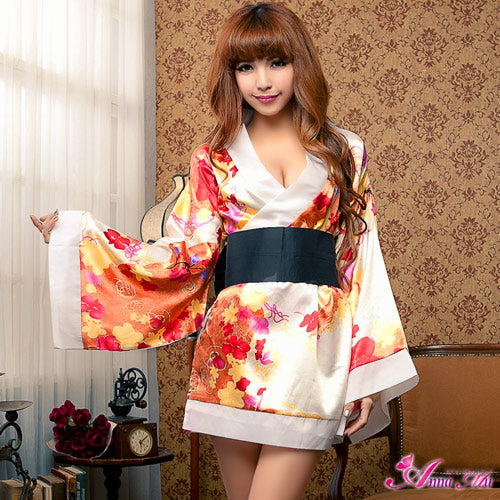 Lingeriecats Sexy Luxury Japanese Pearl White Kimono Outfit Cosplay Costume Set - LingerieCats