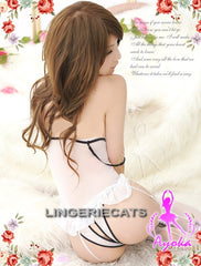 Attractive Chiffon Corset Set - White - LingerieCats