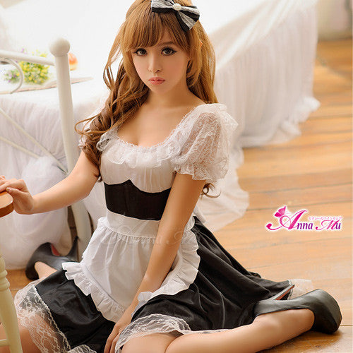 Lingeriecats Sexy Icing sugar Cuty Maid Outfit Cosplay Costume Set - LingerieCats