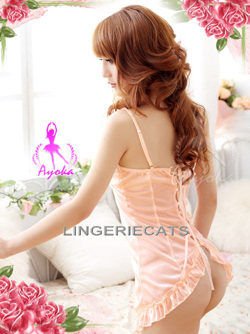 Lingeriecats Enchanting Bright Orange Rayon Chemise - LingerieCats