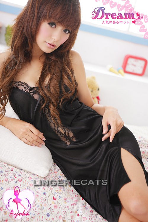 Fascinating Lace Halter-neck Rayon Chemise - LingerieCats