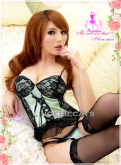 Mint Chocolate Corset Set - LingerieCats