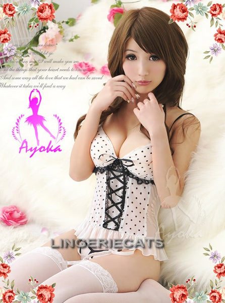 White Attractive Chiffon Corset Set - LingerieCats