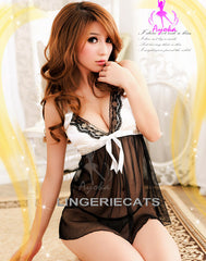Coquettish Sheer Halter-Neck Chemise Set - LingerieCats
